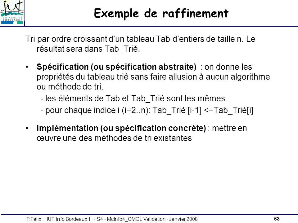 63P.Félix ~ IUT Info Bordeaux 1 - S4 - McInfo4_OMGL Validation - Janvier 2008 Exemple de raffinement Tri par ordre croissant dun tableau Tab dentiers de taille n.