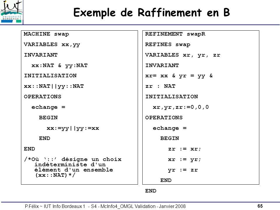 65P.Félix ~ IUT Info Bordeaux 1 - S4 - McInfo4_OMGL Validation - Janvier 2008 Exemple de Raffinement en B MACHINE swap VARIABLES xx,yy INVARIANT xx:NAT & yy:NAT INITIALISATION xx::NAT||yy::NAT OPERATIONS echange = BEGIN xx:=yy||yy:=xx END /*Où :: désigne un choix indéterministe d un élément d un ensemble (xx::NAT)*/ REFINEMENT swapR REFINES swap VARIABLES xr, yr, zr INVARIANT xr= xx & yr = yy & zr : NAT INITIALISATION xr,yr,zr:=0,0,0 OPERATIONS echange = BEGIN zr := xr; xr := yr; yr := zr END