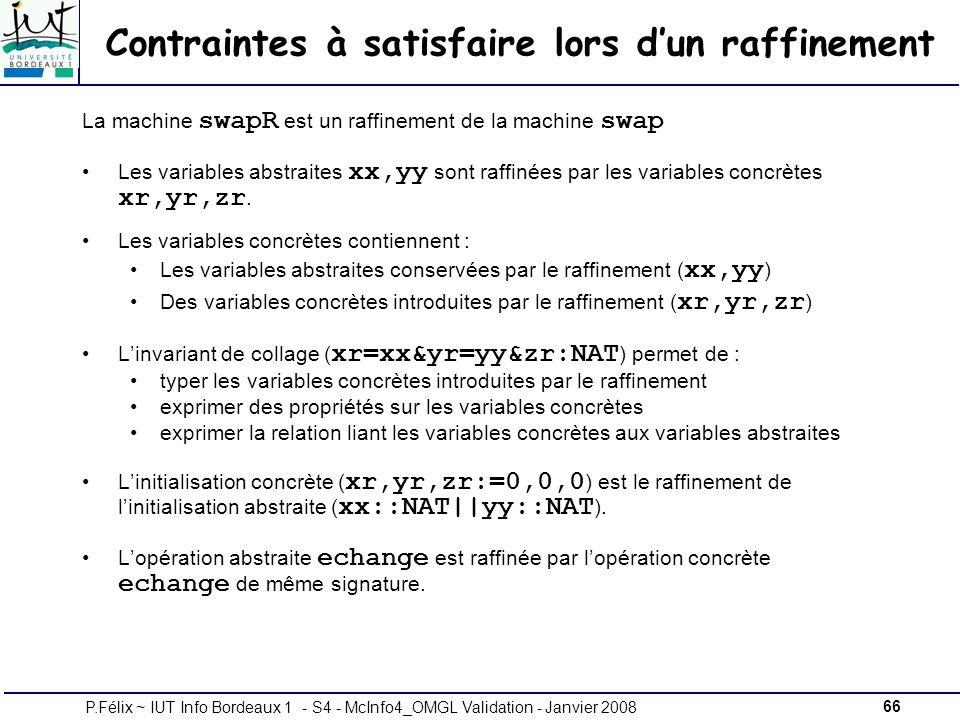 66P.Félix ~ IUT Info Bordeaux 1 - S4 - McInfo4_OMGL Validation - Janvier 2008 Contraintes à satisfaire lors dun raffinement La machine swapR est un raffinement de la machine swap Les variables abstraites xx,yy sont raffinées par les variables concrètes xr,yr,zr.