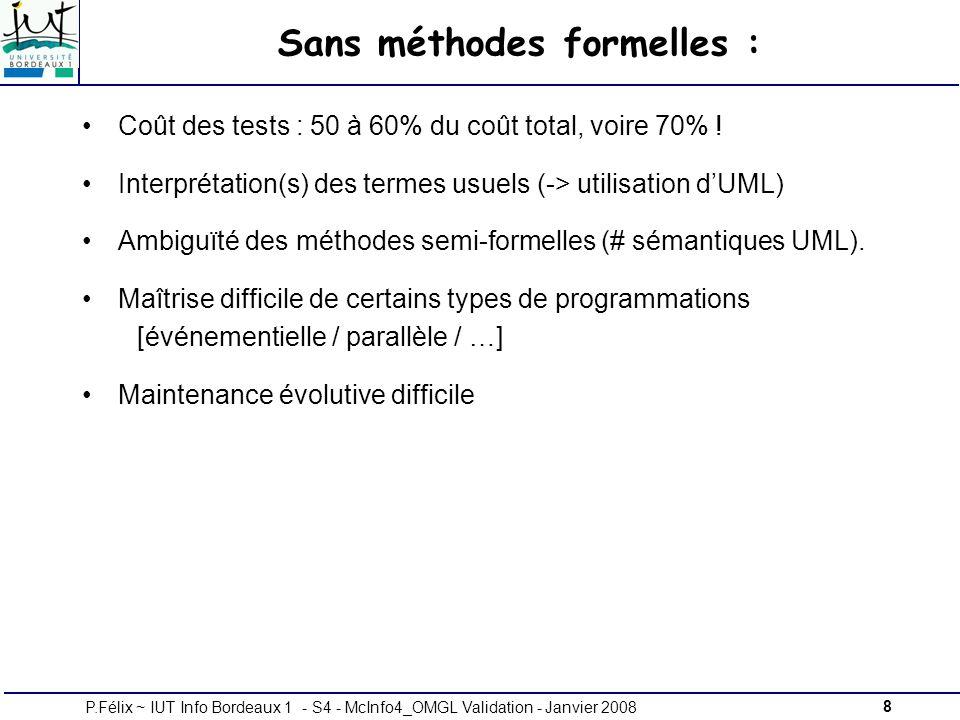 8P.Félix ~ IUT Info Bordeaux 1 - S4 - McInfo4_OMGL Validation - Janvier 2008 Sans méthodes formelles : Coût des tests : 50 à 60% du coût total, voire 70% .
