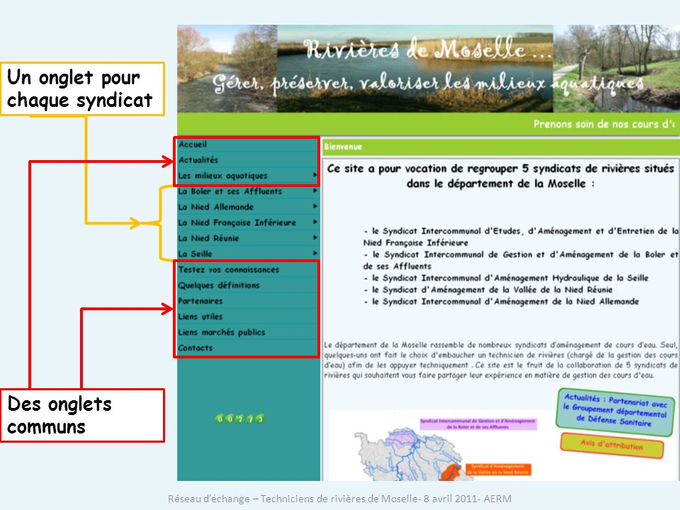 Un onglet pour chaque syndicat Des onglets communs Réseau déchange – Techniciens de rivières de Moselle- 8 avril 2011- AERM