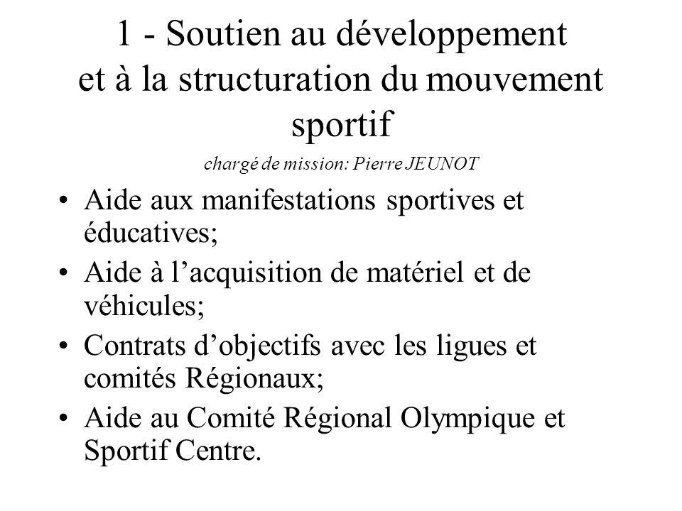 1 - Soutien au développement et à la structuration du mouvement sportif chargé de mission: Pierre JEUNOT Aide aux manifestations sportives et éducativ