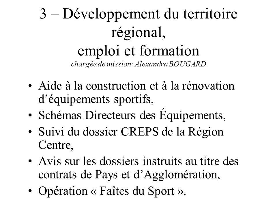 3 – Développement du territoire régional, emploi et formation chargée de mission: Alexandra BOUGARD Aide à la construction et à la rénovation déquipem