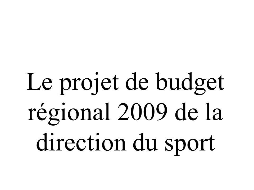 Le projet de budget régional 2009 de la direction du sport