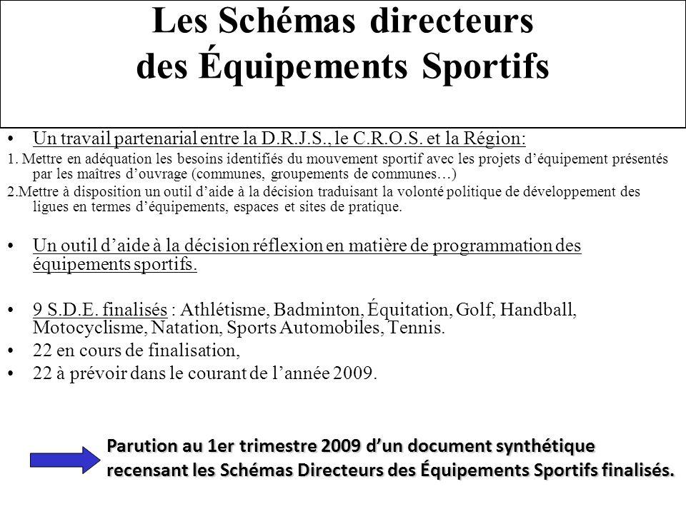 Les Schémas directeurs des Équipements Sportifs Un travail partenarial entre la D.R.J.S., le C.R.O.S. et la Région: 1. Mettre en adéquation les besoin