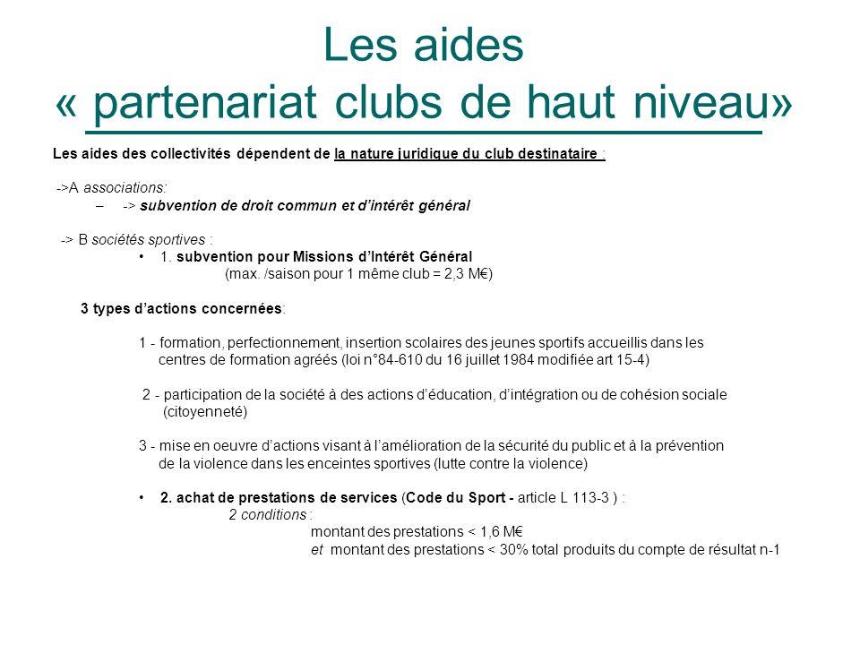Les aides « partenariat clubs de haut niveau» Les aides des collectivités dépendent de la nature juridique du club destinataire : ->A associations: –-> subvention de droit commun et dintérêt général -> B sociétés sportives : 1.