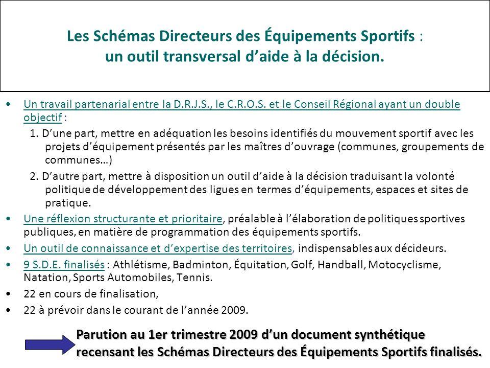 Les Schémas Directeurs des Équipements Sportifs : un outil transversal daide à la décision.