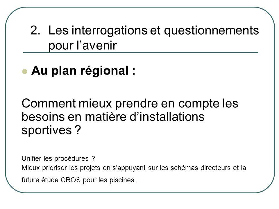 2.Les interrogations et questionnements pour lavenir Au plan régional : Comment mieux prendre en compte les besoins en matière dinstallations sportives .