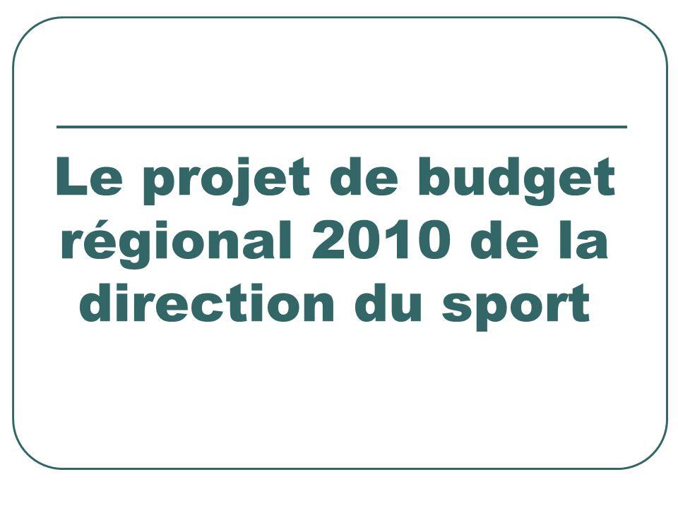 Le projet de budget régional 2010 de la direction du sport