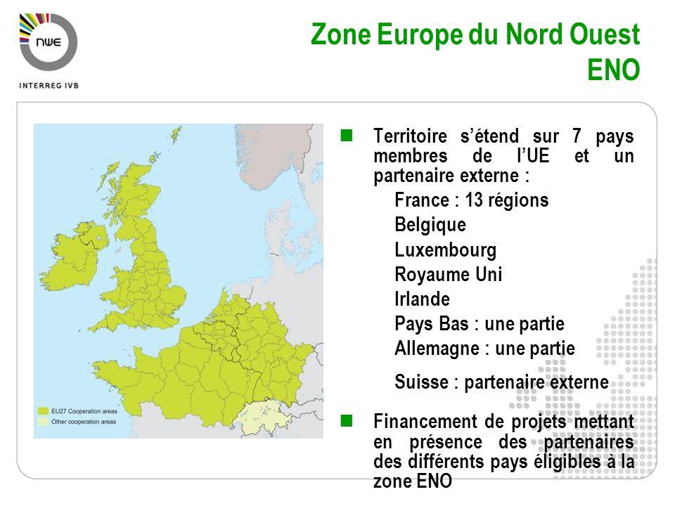 Zone Europe du Nord Ouest ENO Territoire sétend sur 7 pays membres de lUE et un partenaire externe : France : 13 régions Belgique Luxembourg Royaume U