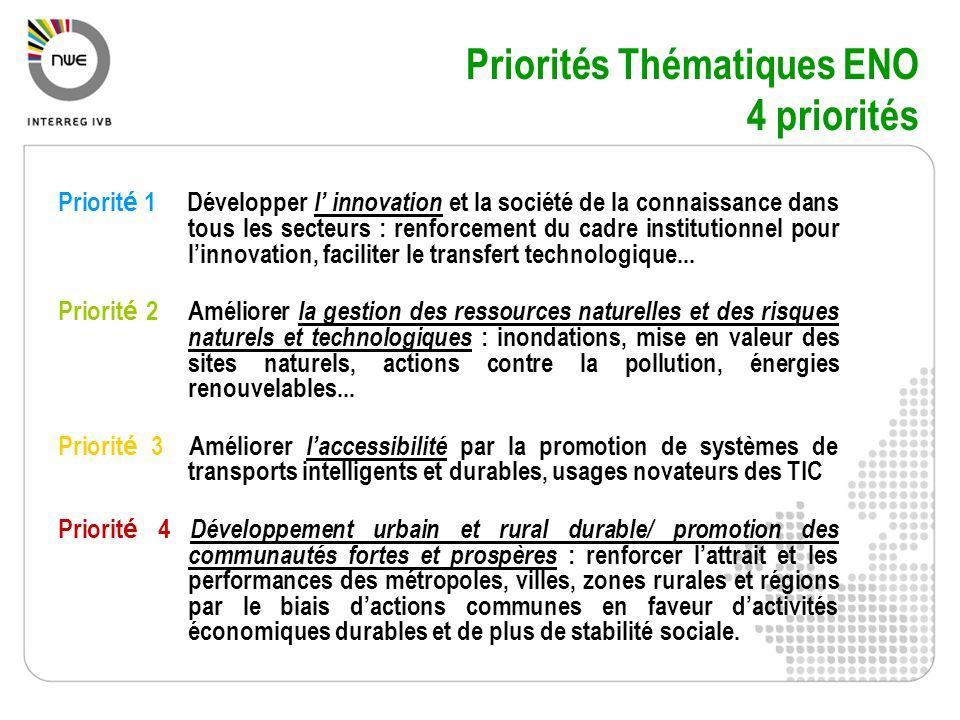Priorités Thématiques ENO 4 priorités Priorit é 1 Développer l innovation et la société de la connaissance dans tous les secteurs : renforcement du ca