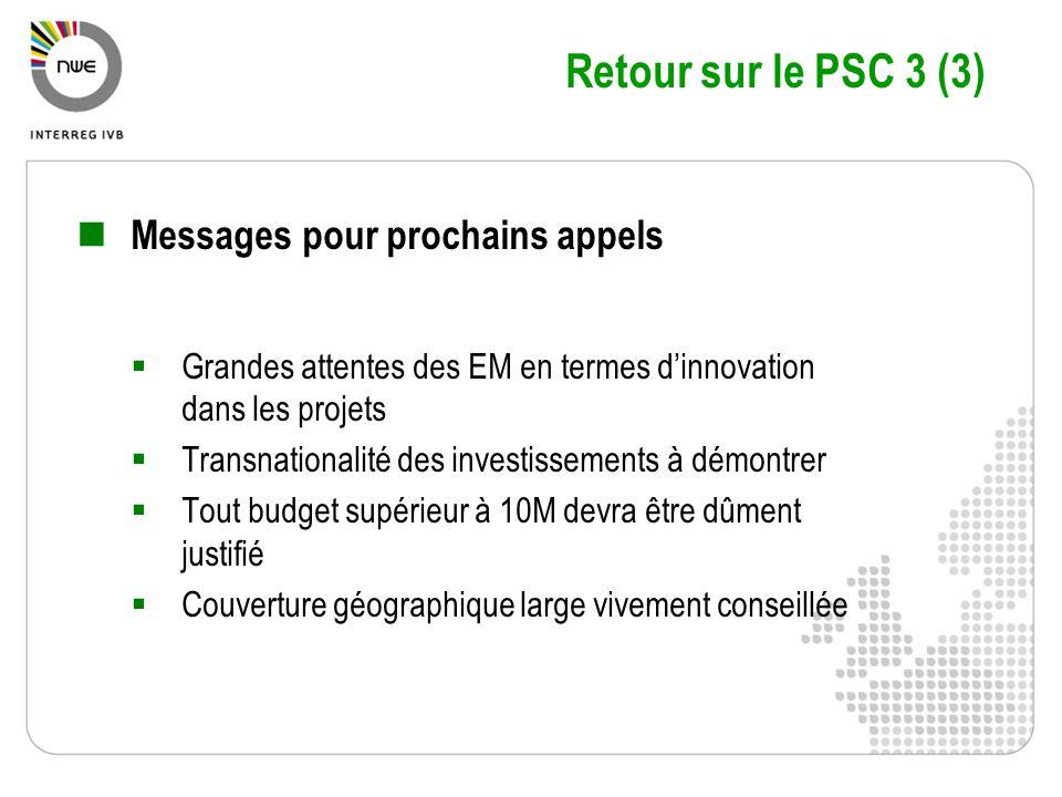 Retour sur le PSC 3 (3) Messages pour prochains appels Grandes attentes des EM en termes dinnovation dans les projets Transnationalité des investissem
