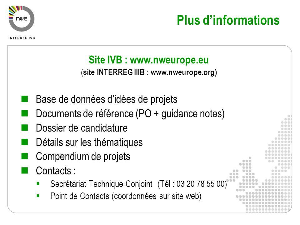 Plus dinformations Site IVB : www.nweurope.eu ( site INTERREG IIIB : www.nweurope.org) Base de données didées de projets Documents de référence (PO +