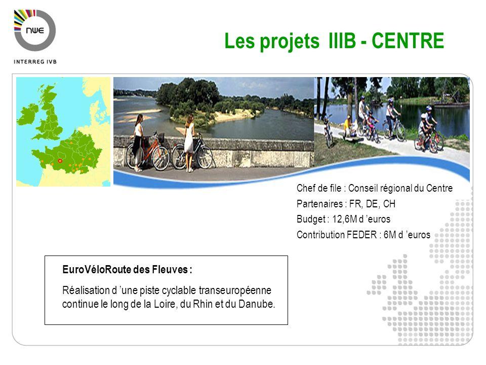 Chef de file : Conseil régional du Centre Partenaires : FR, DE, CH Budget : 12,6M d euros Contribution FEDER : 6M d euros EuroVéloRoute des Fleuves :