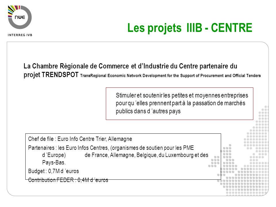 Plus dinformations Site IVB : www.nweurope.eu ( site INTERREG IIIB : www.nweurope.org) Base de données didées de projets Documents de référence (PO + guidance notes) Dossier de candidature Détails sur les thématiques Compendium de projets Contacts : Secrétariat Technique Conjoint (Tél : 03 20 78 55 00) Point de Contacts (coordonnées sur site web)