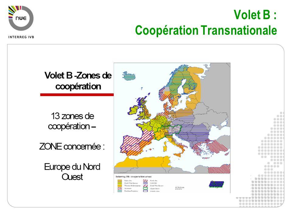 Zone Europe du Nord Ouest ENO Territoire sétend sur 7 pays membres de lUE et un partenaire externe : France : 13 régions Belgique Luxembourg Royaume Uni Irlande Pays Bas : une partie Allemagne : une partie Suisse : partenaire externe Financement de projets mettant en présence des partenaires des différents pays éligibles à la zone ENO