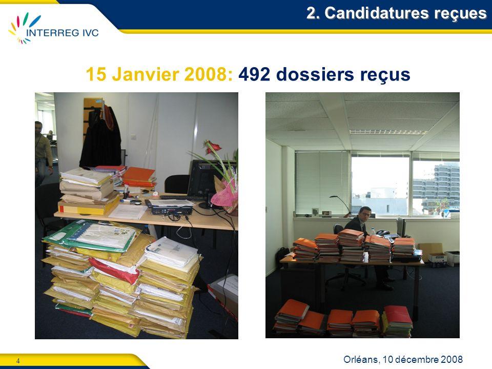 4 Orléans, 10 décembre 2008 2. Candidatures reçues 15 Janvier 2008: 492 dossiers reçus