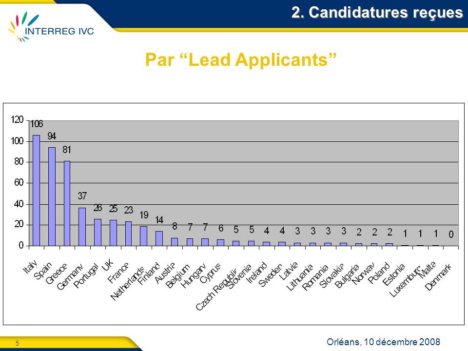 6 Orléans, 10 décembre 2008 2. Candidatures reçues Par nombre de partenaires