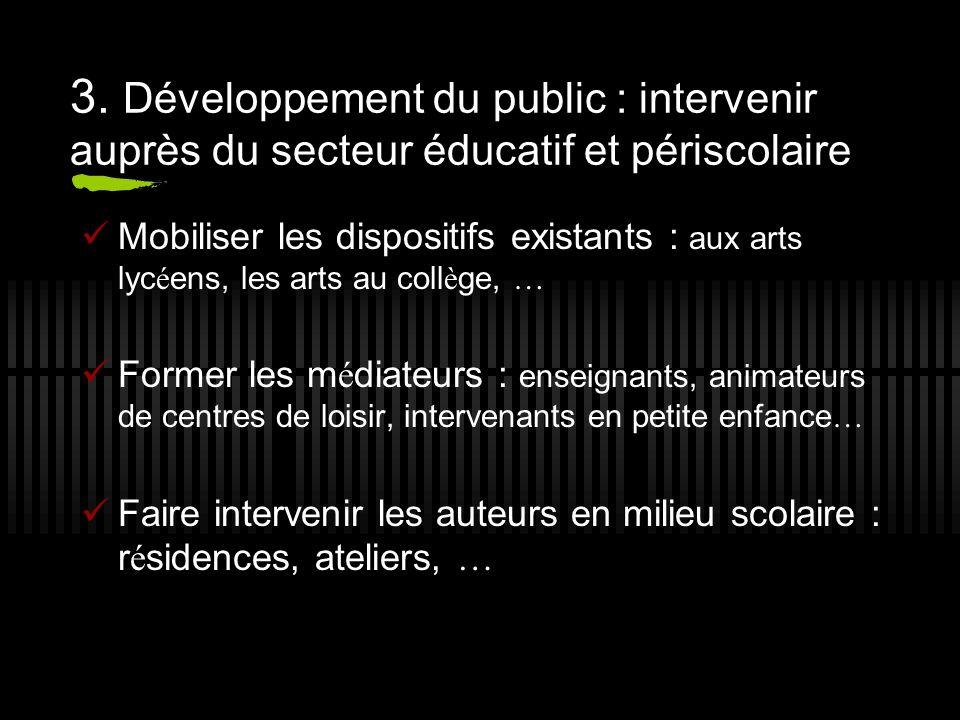 3. Développement du public : intervenir auprès du secteur éducatif et périscolaire Mobiliser les dispositifs existants : aux arts lyc é ens, les arts