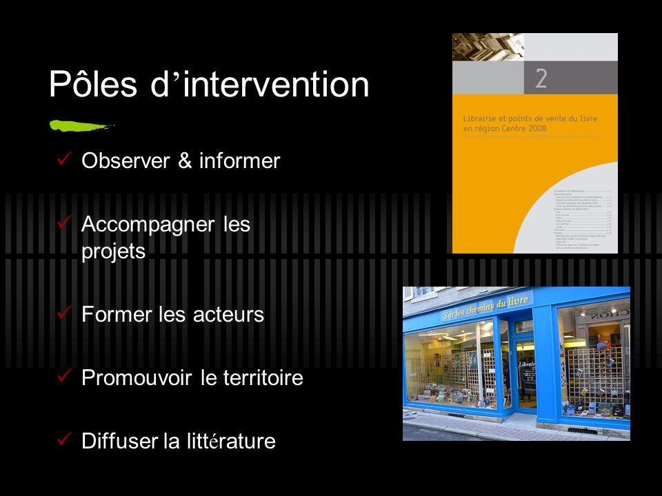 Pôles d intervention Observer & informer Accompagner les projets Former les acteurs Promouvoir le territoire Diffuser la litt é rature