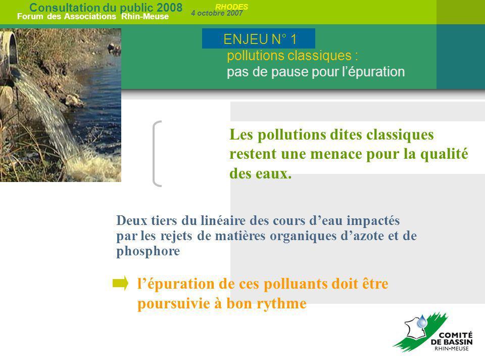Consultation du public 2008 Forum des Associations Rhin-Meuse 4 octobre 2007 RHODES Deux tiers du linéaire des cours deau impactés par les rejets de m