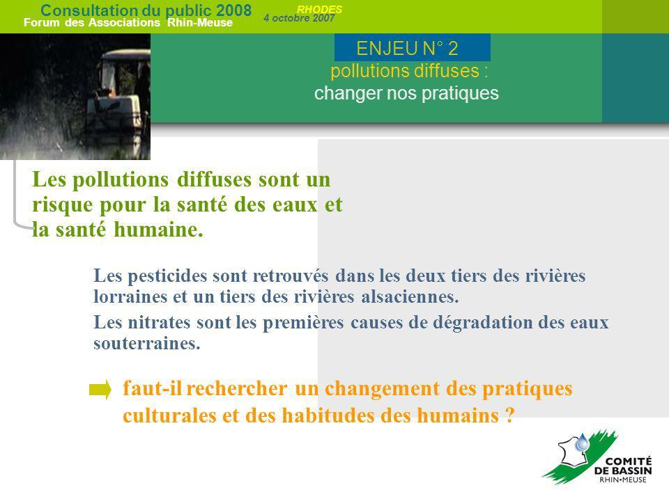 Consultation du public 2008 Forum des Associations Rhin-Meuse 4 octobre 2007 RHODES Les pollutions diffuses sont un risque pour la santé des eaux et l