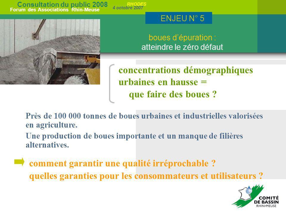 Consultation du public 2008 Forum des Associations Rhin-Meuse 4 octobre 2007 RHODES concentrations démographiques urbaines en hausse = que faire des b