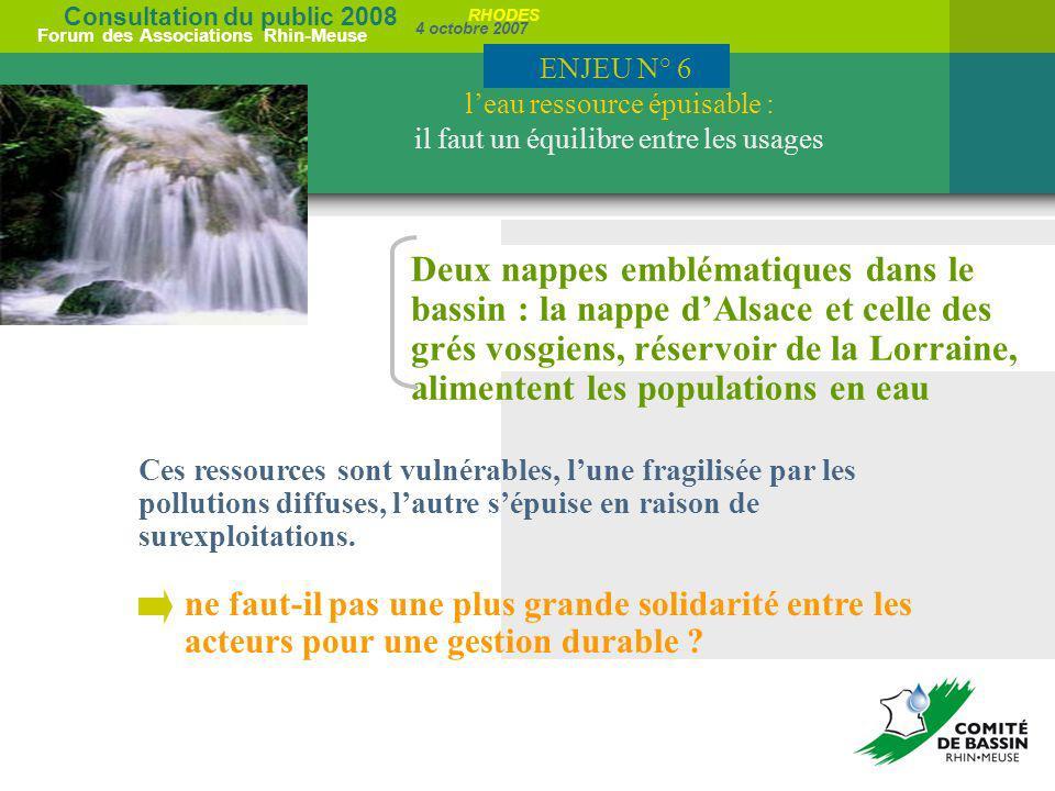 Consultation du public 2008 Forum des Associations Rhin-Meuse 4 octobre 2007 RHODES Deux nappes emblématiques dans le bassin : la nappe dAlsace et cel