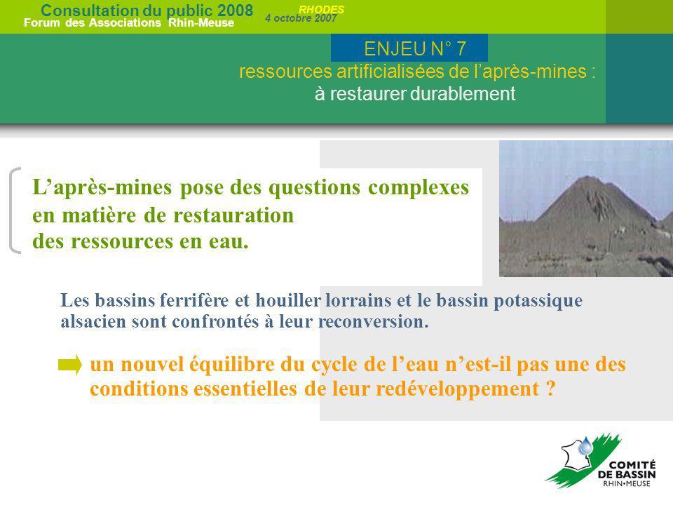Consultation du public 2008 Forum des Associations Rhin-Meuse 4 octobre 2007 RHODES Laprès-mines pose des questions complexes en matière de restaurati