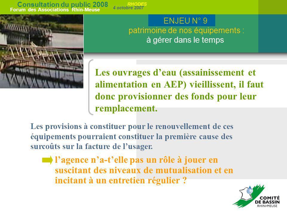 Consultation du public 2008 Forum des Associations Rhin-Meuse 4 octobre 2007 RHODES Les ouvrages deau (assainissement et alimentation en AEP) vieillis