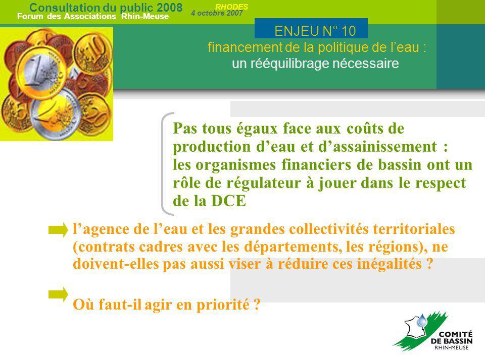 Consultation du public 2008 Forum des Associations Rhin-Meuse 4 octobre 2007 RHODES Pas tous égaux face aux coûts de production deau et dassainissemen
