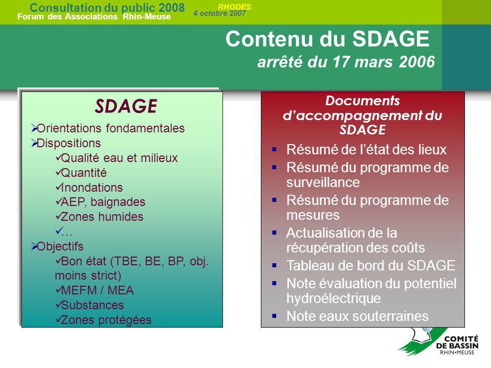 Consultation du public 2008 Forum des Associations Rhin-Meuse 4 octobre 2007 RHODES Résumé de létat des lieux Résumé du programme de surveillance Résu