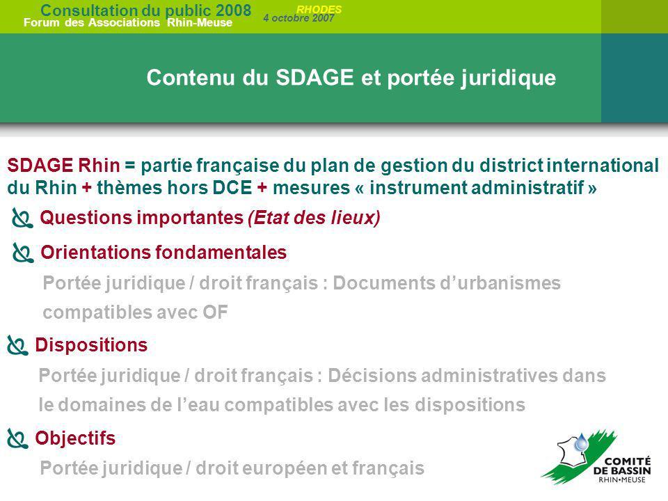 Consultation du public 2008 Forum des Associations Rhin-Meuse 4 octobre 2007 RHODES SDAGE Rhin = partie française du plan de gestion du district inter