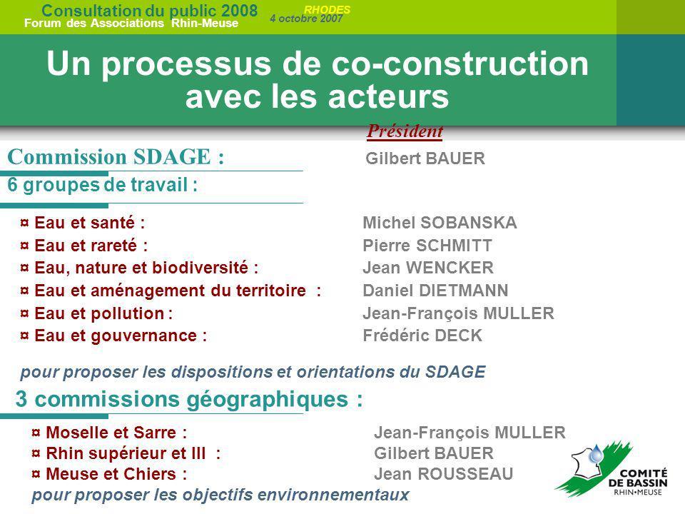 Consultation du public 2008 Forum des Associations Rhin-Meuse 4 octobre 2007 RHODES 6 groupes de travail : Un processus de co-construction avec les ac