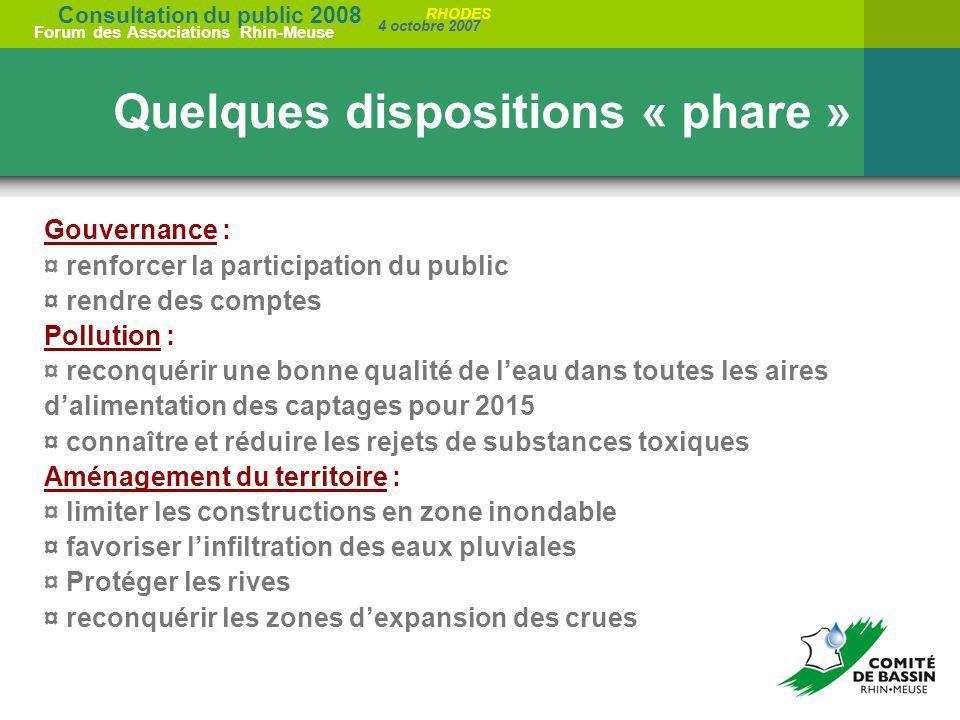 Consultation du public 2008 Forum des Associations Rhin-Meuse 4 octobre 2007 RHODES Quelques dispositions « phare » Gouvernance : ¤ renforcer la parti