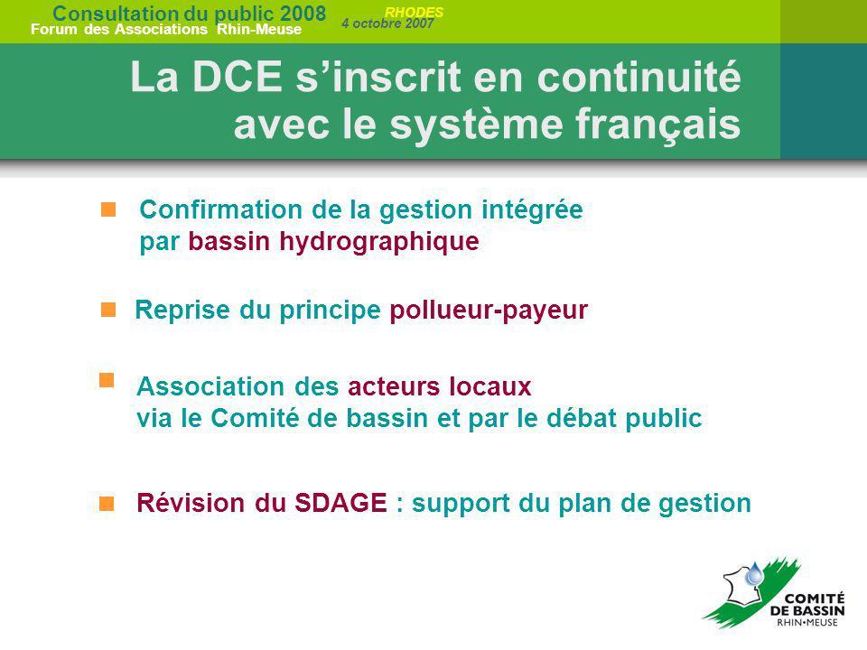 Consultation du public 2008 Forum des Associations Rhin-Meuse 4 octobre 2007 RHODES Reprise du principe pollueur-payeur Association des acteurs locaux