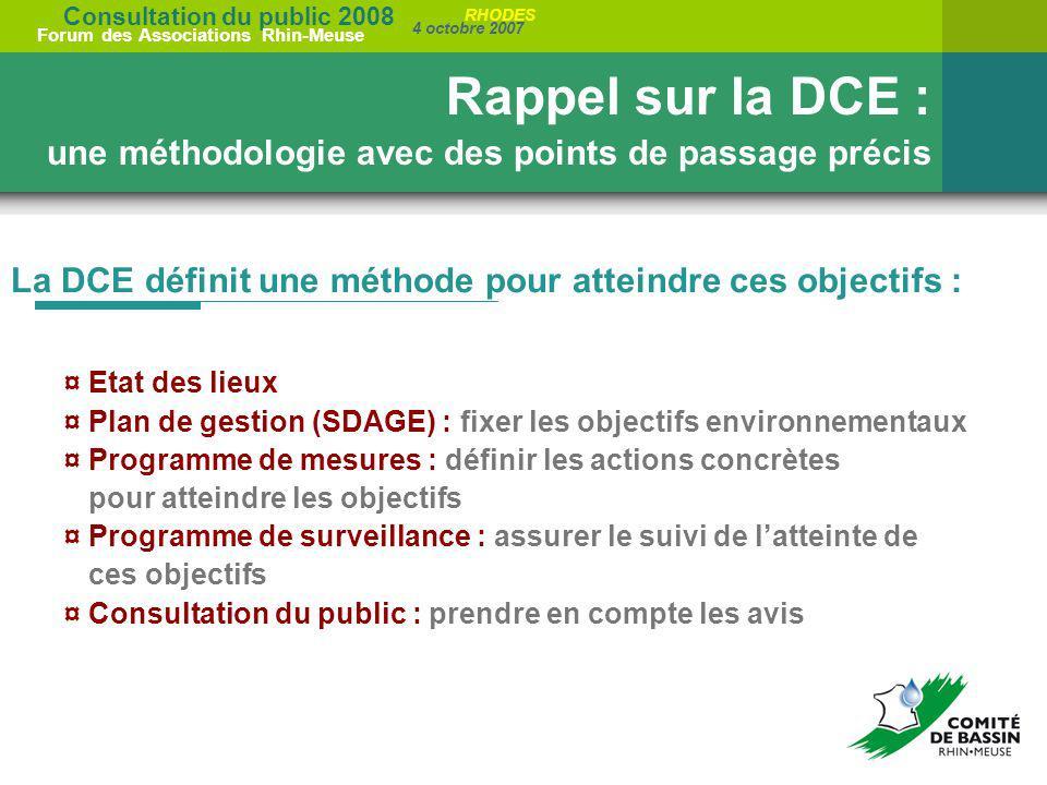 Consultation du public 2008 Forum des Associations Rhin-Meuse 4 octobre 2007 RHODES La DCE définit une méthode pour atteindre ces objectifs : Rappel s