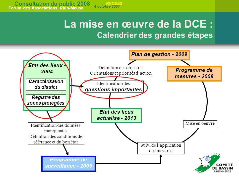 Consultation du public 2008 Forum des Associations Rhin-Meuse 4 octobre 2007 RHODES La mise en œuvre de la DCE : Calendrier des grandes étapes Etat de