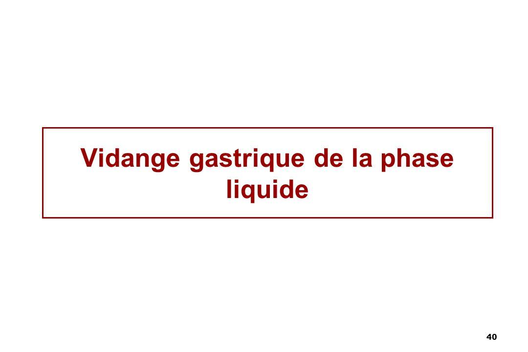 40 Vidange gastrique de la phase liquide