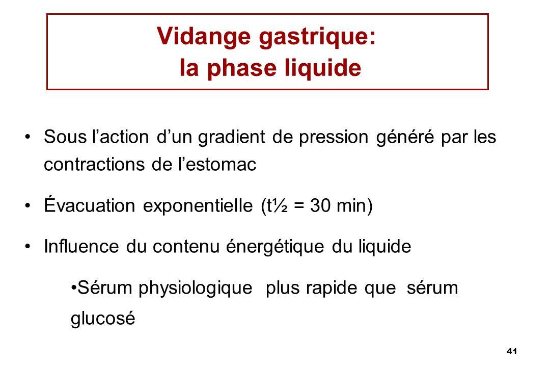 41 Vidange gastrique: la phase liquide Sous laction dun gradient de pression généré par les contractions de lestomac Évacuation exponentielle (t½ = 30