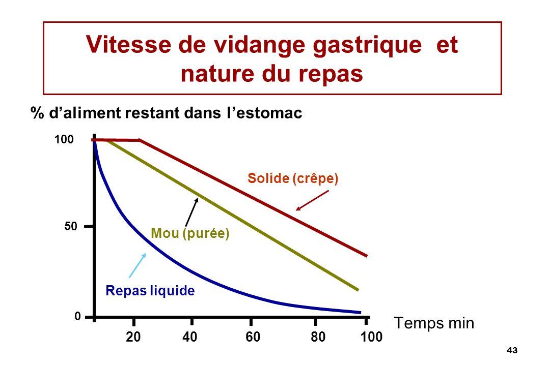 43 Vitesse de vidange gastrique et nature du repas Temps min 20406080100 0 50 Repas liquide Mou (purée) Solide (crêpe) 100 % daliment restant dans les