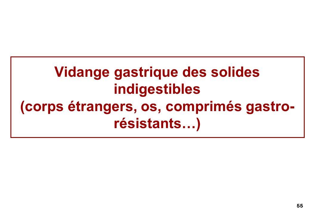 55 Vidange gastrique des solides indigestibles (corps étrangers, os, comprimés gastro- résistants…)