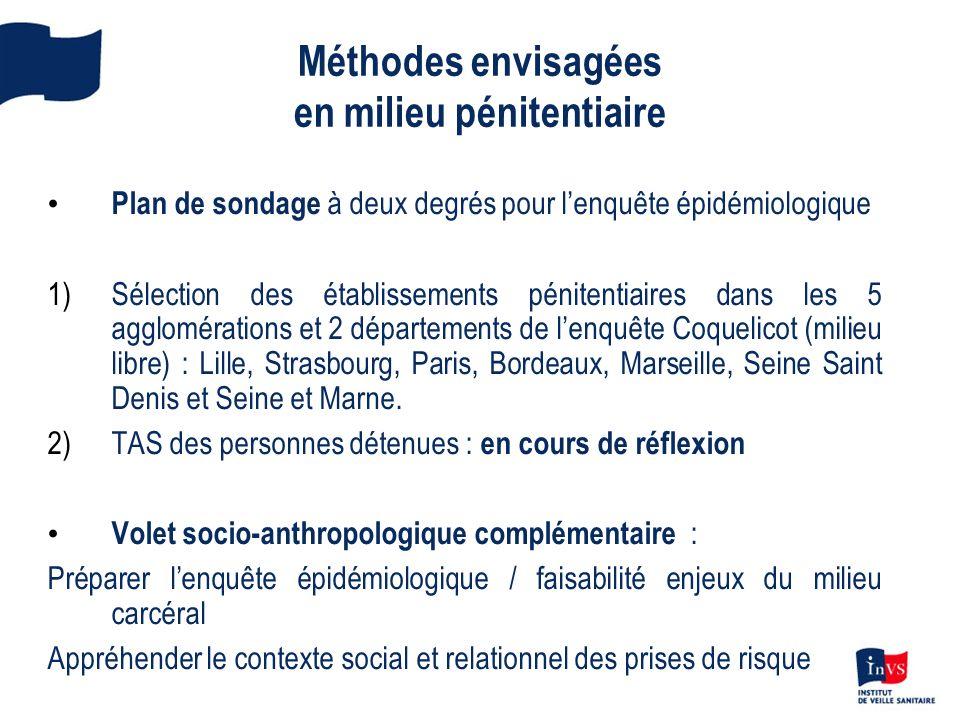 Méthodes envisagées en milieu pénitentiaire Plan de sondage à deux degrés pour lenquête épidémiologique 1)Sélection des établissements pénitentiaires