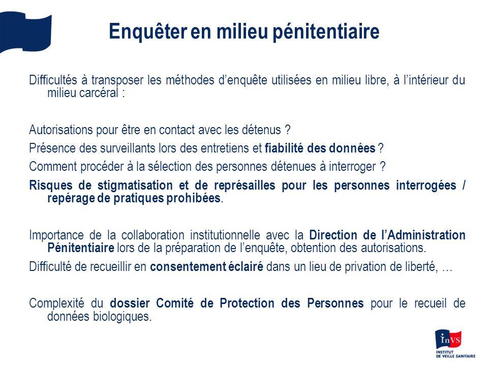 Enquêter en milieu pénitentiaire Difficultés à transposer les méthodes denquête utilisées en milieu libre, à lintérieur du milieu carcéral : Autorisat