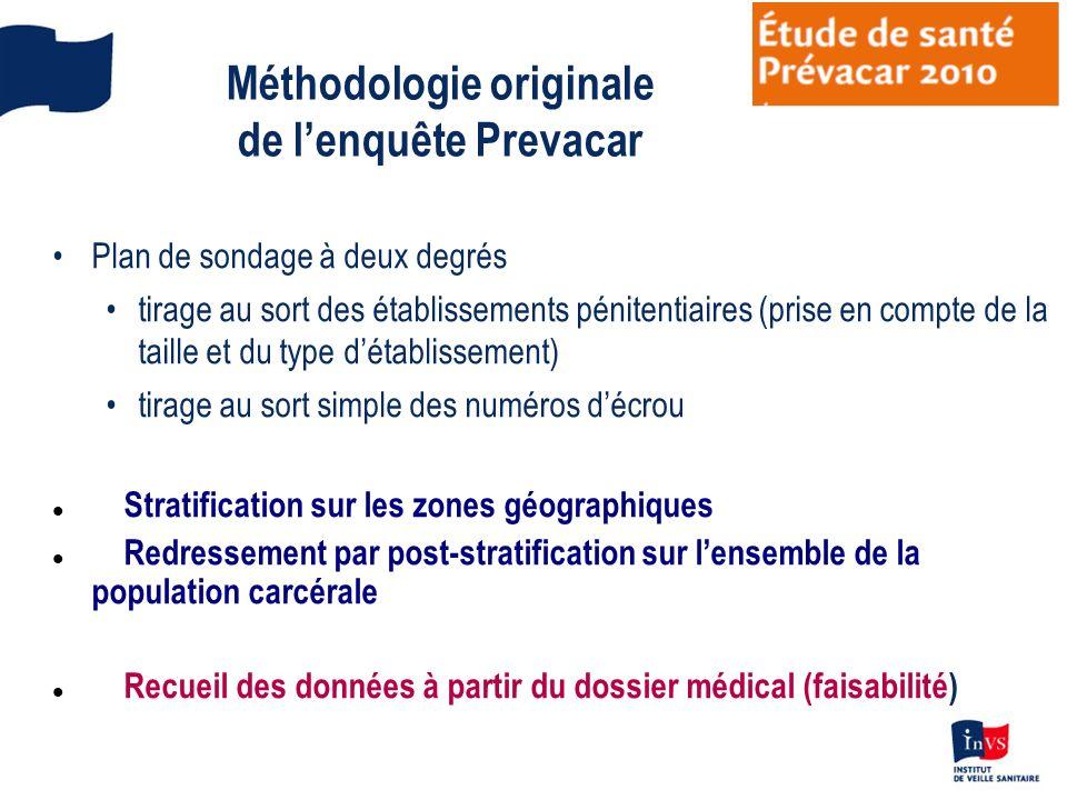 Méthodologie originale de lenquête Prevacar Plan de sondage à deux degrés tirage au sort des établissements pénitentiaires (prise en compte de la tail