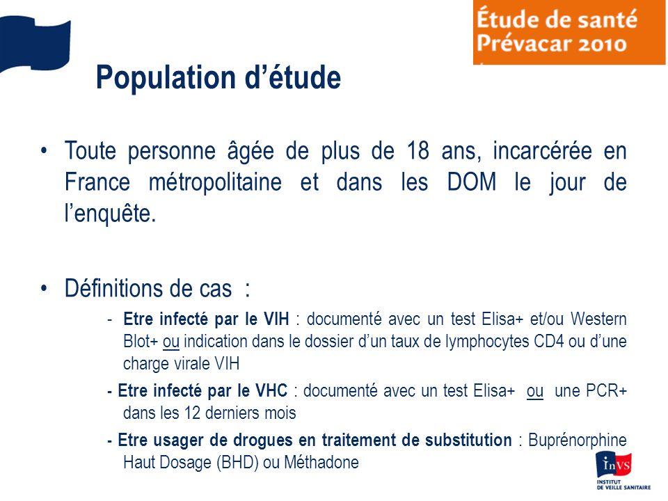 Population détude Toute personne âgée de plus de 18 ans, incarcérée en France métropolitaine et dans les DOM le jour de lenquête. Définitions de cas :