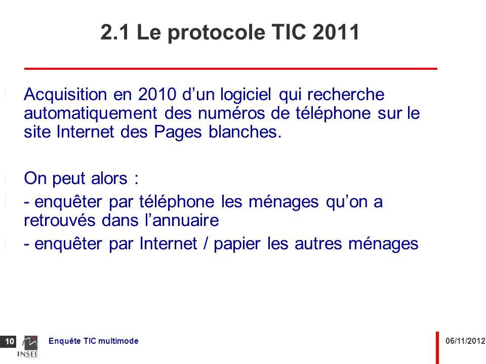 06/11/2012Enquête TIC multimode 10 2.1 Le protocole TIC 2011 Acquisition en 2010 dun logiciel qui recherche automatiquement des numéros de téléphone s