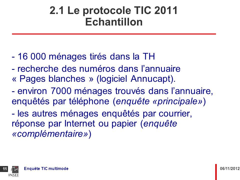 06/11/2012Enquête TIC multimode 11 2.1 Le protocole TIC 2011 Echantillon - 16 000 ménages tirés dans la TH - recherche des numéros dans lannuaire « Pa