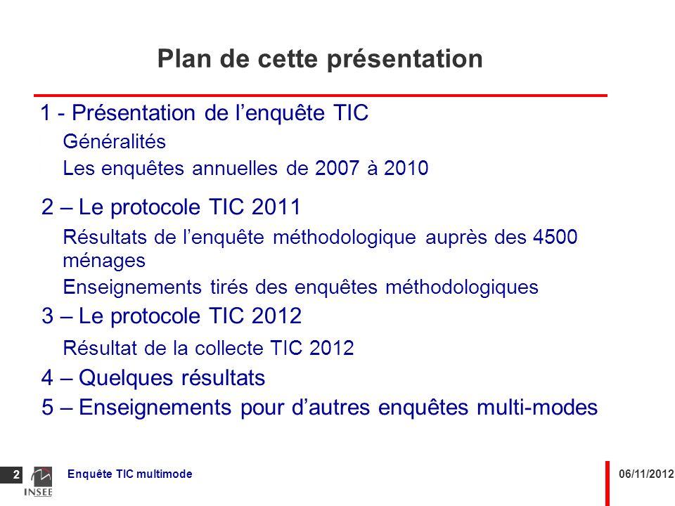 06/11/2012Enquête TIC multimode 2 Plan de cette présentation 1 - Présentation de lenquête TIC Généralités Les enquêtes annuelles de 2007 à 2010 2 – Le