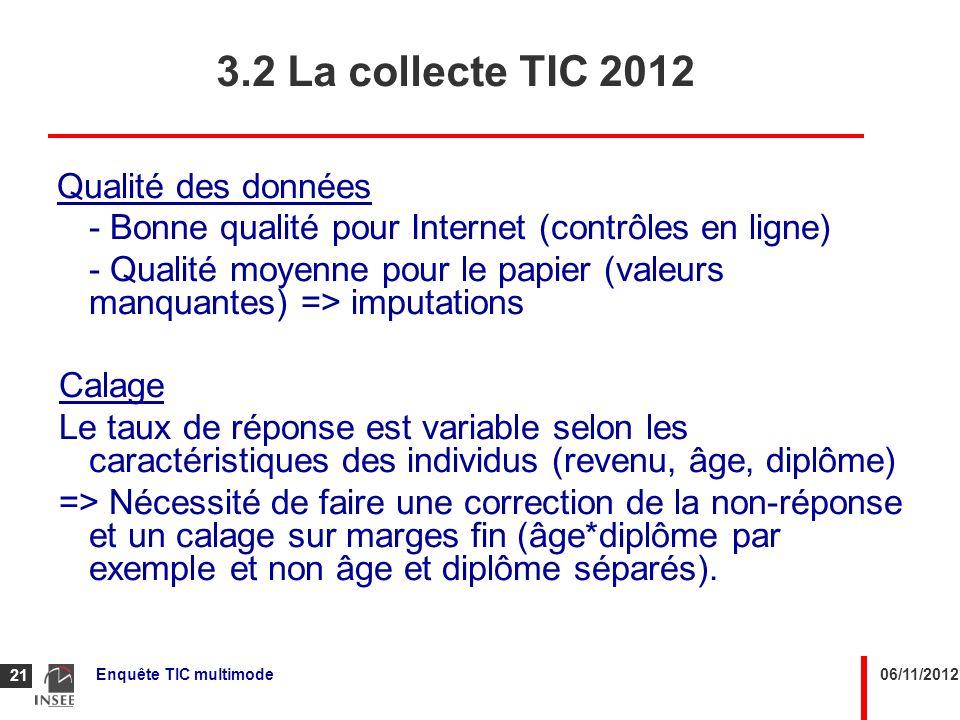 06/11/2012Enquête TIC multimode 21 Qualité des données - Bonne qualité pour Internet (contrôles en ligne) - Qualité moyenne pour le papier (valeurs ma